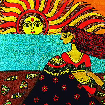 Sunrise at beach Madhubani Painting by Shishu Suman