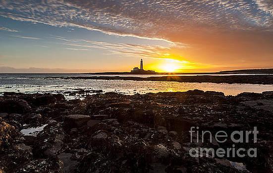 Sunrise at St Marys Lighthouse #2 by John Cox