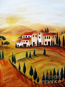 Sunrise in Tuscany by Christine Huwer
