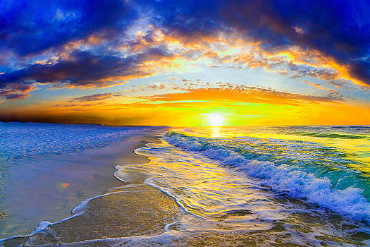 Sunrise On Ocean Waves Beautiful Orange Sunrise by Eszra Tanner