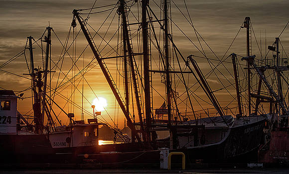Sunrise over the New Bedford Harbor by John Hoey