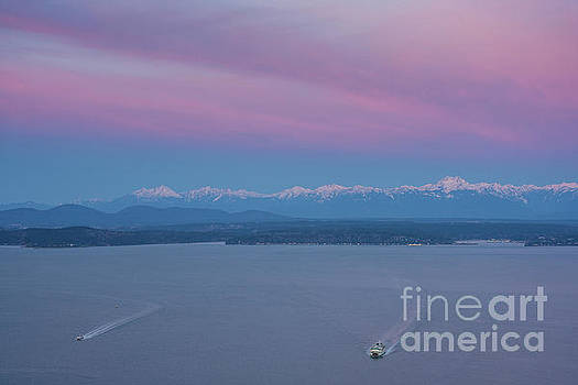 Sunrise Over the Olympics and Ferries to Seattle by Mike Reid