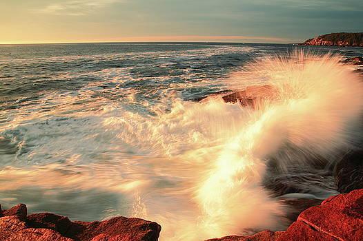 Sunrise Seas breaking on the coast, Acadia National Park  by Roupen  Baker