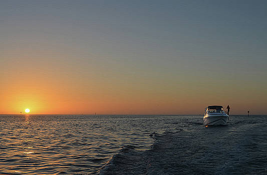 Sunset and Boat by Aimee L Maher Photography and Art Visit ALMGallerydotcom