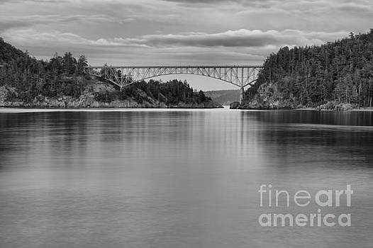 Sunset At Deception Pass - Black And White by Adam Jewell