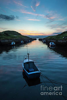 Sunset at Seaton Sluice Harbour. by John Cox