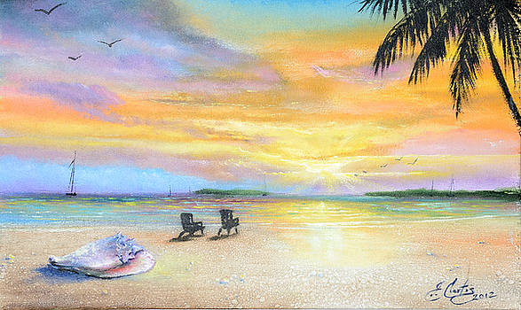 Sunset At The Beach by Earl Butch Curtis