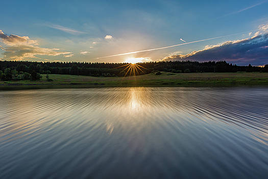 Sunset at the Mandelholz Dam, Harz by Andreas Levi