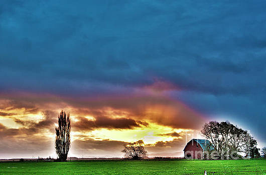 Sunset Beyond The Farm by Janie Johnson