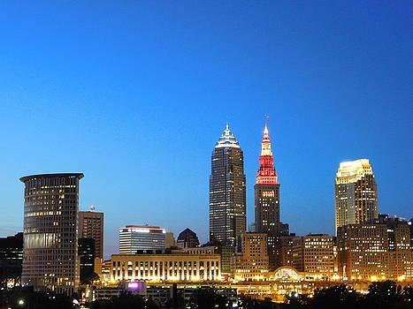 Sunset Cleveland Ohio by Nancy Spirakus