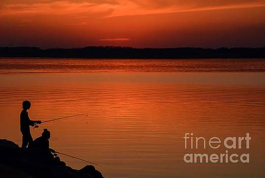 Sunset Fishing by Debbie Green