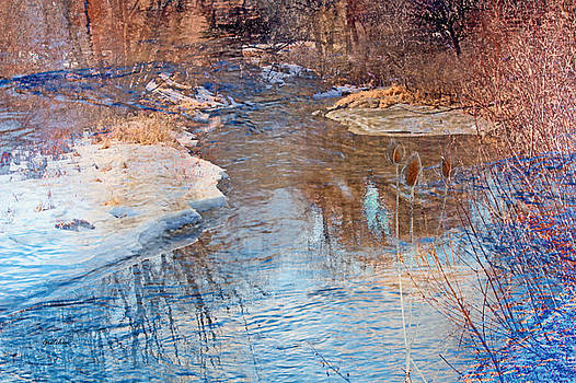 Sunset Glow over Cattails and Icy Winter Creek by Gretchen Wrede