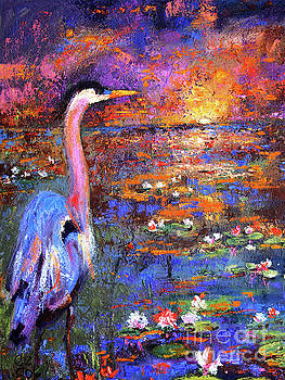 Ginette Callaway - Sunset in the Wetlands Blue Heron