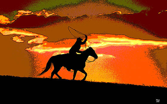 Sunset In The Wild West by Charles Shoup