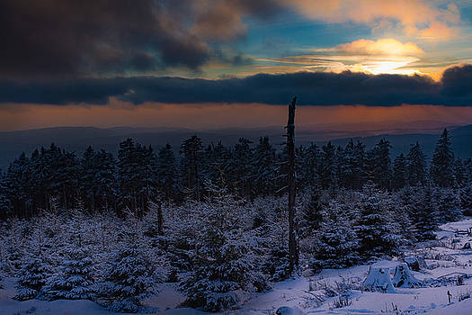 sunset in winter in the Harz area by Andreas Levi
