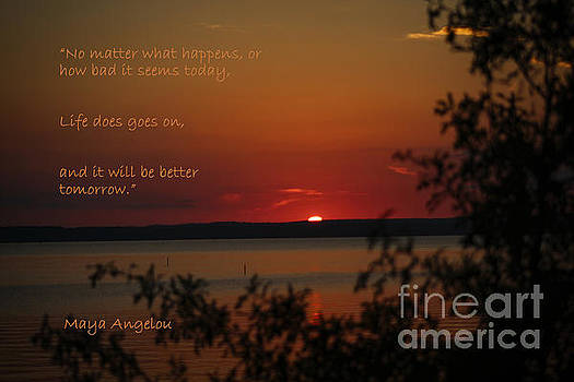 Sunset - Maya Angelou Quote Art Print by Ella Kaye Dickey