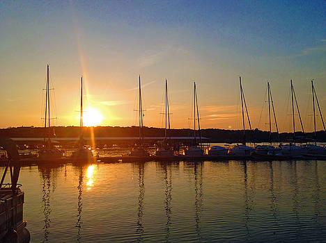 Sunset Moonset Yacht Harbor by Kelly     ZumBerge