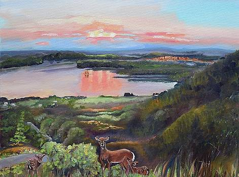 Sunset on at Legacy Bay - Paradise - Deer by Jan Dappen