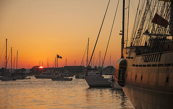 Sunset on Newport Harbor by Mick Burkey