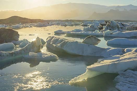 Sunset over Jokulsarlon Glacier Lagoon by Brad Scott