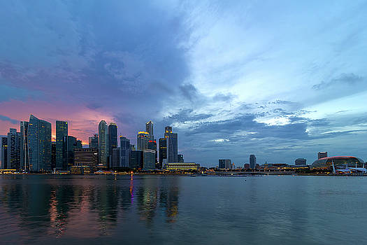 Sunset  over Singapore Modern Skyline by Jit Lim
