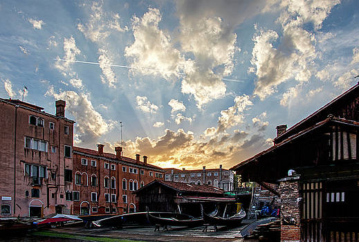Sunset Over the Gondola Shop in Venice by Jean Haynes