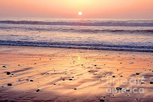 Sunset over Torrey Pines Beach La Jolla California by Julia Hiebaum
