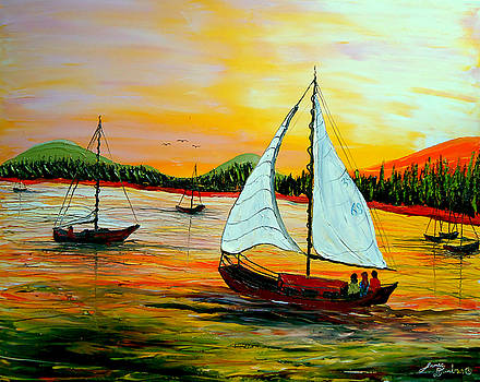 Sunset Sails by Portland Art Creations