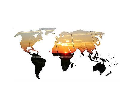Sunset World Map by Michelle Eshleman