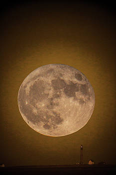Super Moon Over Petit Manan by Brent L Ander