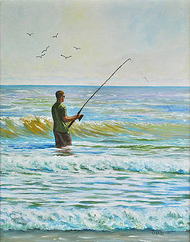 Surf Fishing on The Islands by Darla Brock