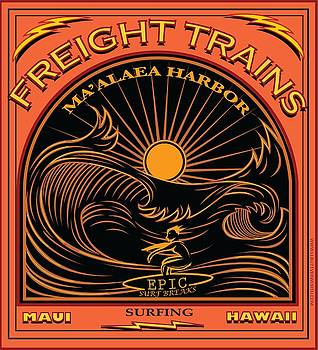 Surfer Freight Trains Maui Hawaii by Larry Butterworth