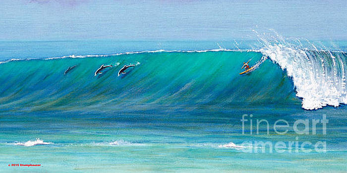 Surfing With Dolphins by Jerome Stumphauzer