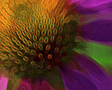 Surreal Neon Textured Coneflower by Kathy Clark