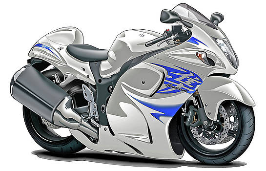 Suzuki Hayabusa White-Blue Bike by Maddmax