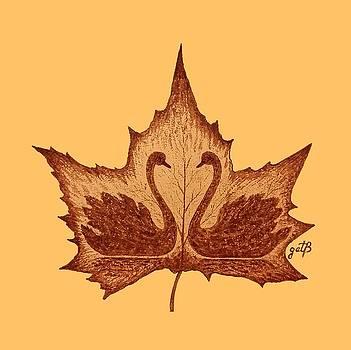 Swans Love on Maple Leaf original coffee painting by Georgeta Blanaru