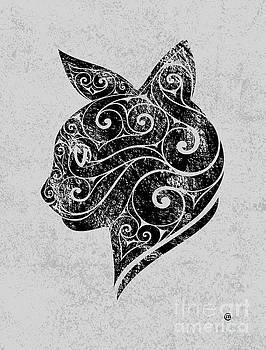 Swirly Cat Portrait by Carolina Matthes