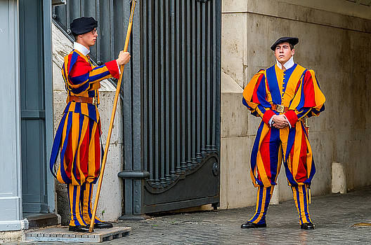 Swiss Guard St Peter's Basilica In Rome by Xavier Cardell