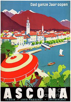 Switzerland Ascona Vintage Travel Poster Restored by Carsten Reisinger