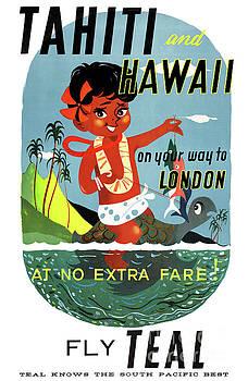 Tahiti Hawaii Vintage Travel Poster Restored by Carsten Reisinger