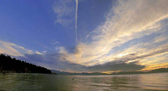 Tahoe Sunrise Panorama by Larry Darnell