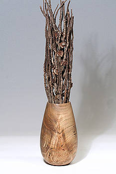 Tall Vase Red Maple Burl  by Patricia Lloyd