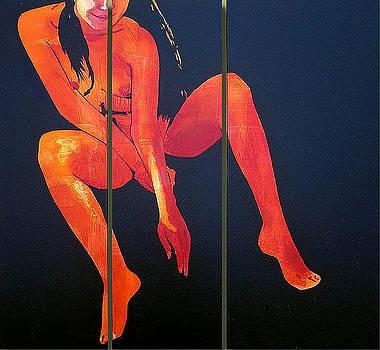 TANGERINE NUDE Triptych by Geoff Greene