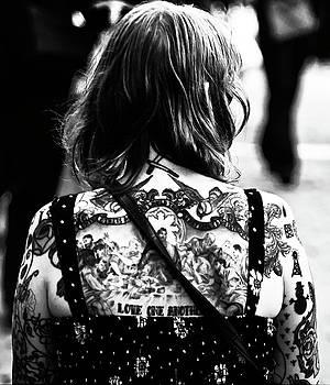 Tattoo lady black and white by Paul Jarrett