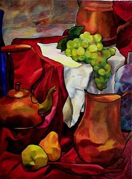 Tea and Fruit on Red by Donna Teleis
