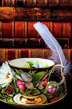 Tea Cup With Old Books And Feather by Garry Gay