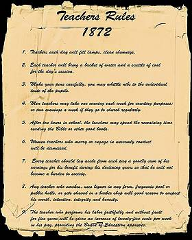 Teachers Rules 1872 by Nick Kloepping