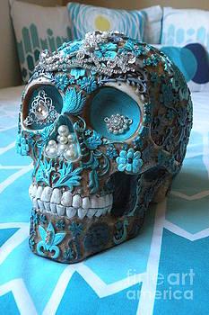 Teal Gem Art Skull by Rita H Ireland