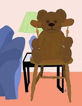 Teddy Bear on Wooden Chair by Pharris Art