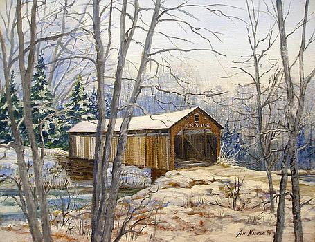 Teegarden Covered Bridge in Winter by Lois Mountz